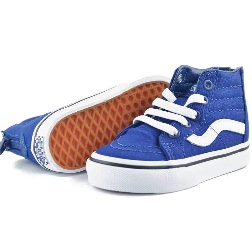 vans kids SK8 hi zip sneaker blue/white side angle pair