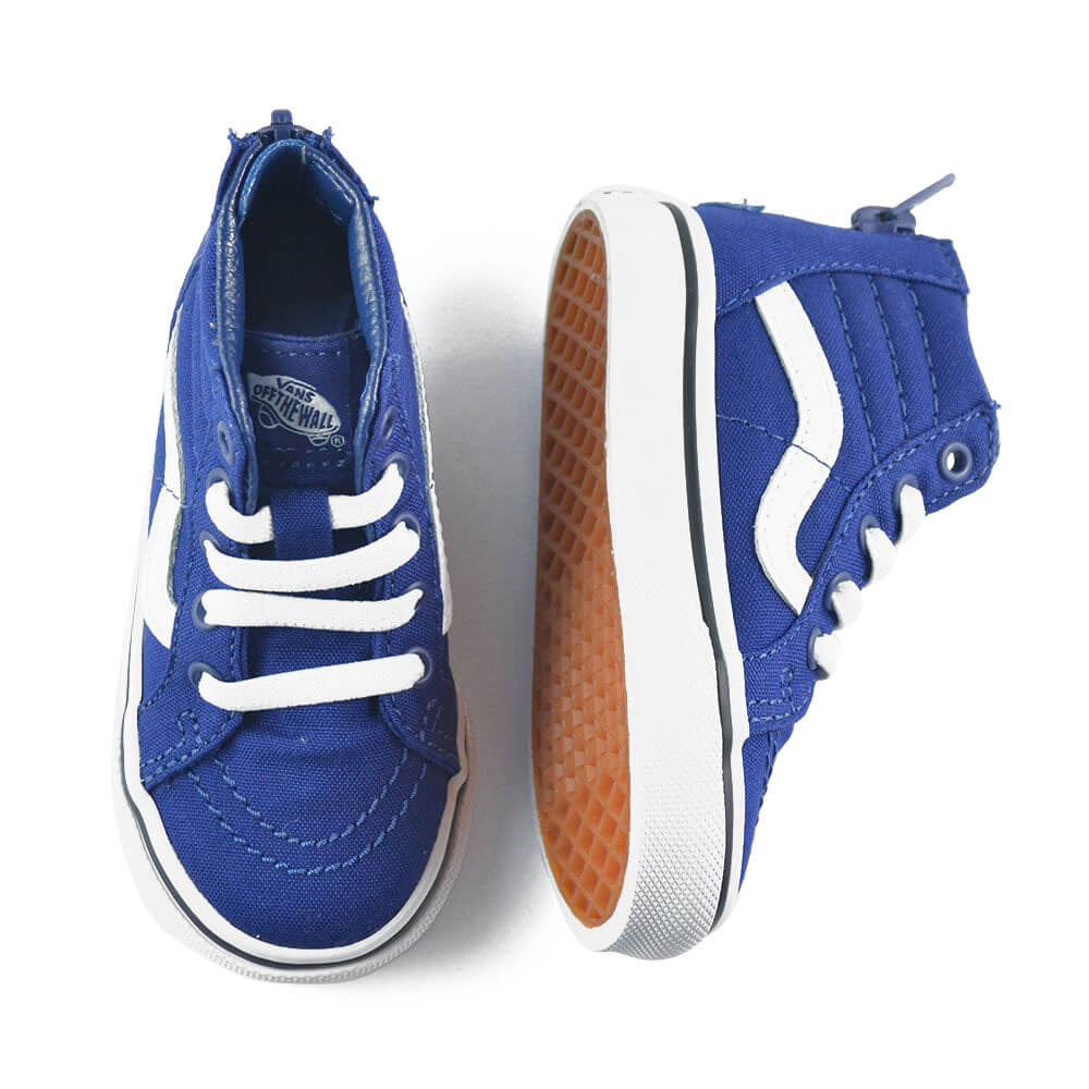 vans kids SK8 hi zip sneaker blue/white top angle pair