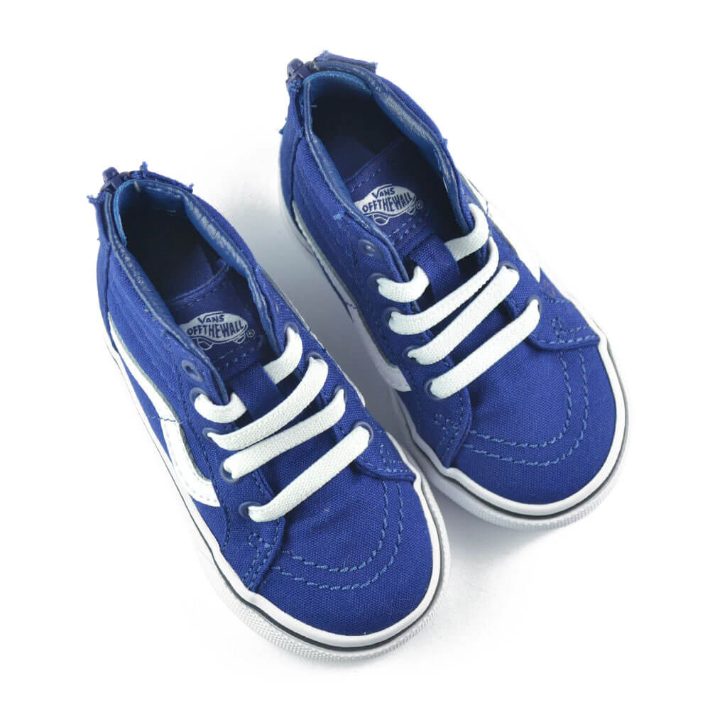 vans kids SK8 hi zip sneaker blue/white top pair