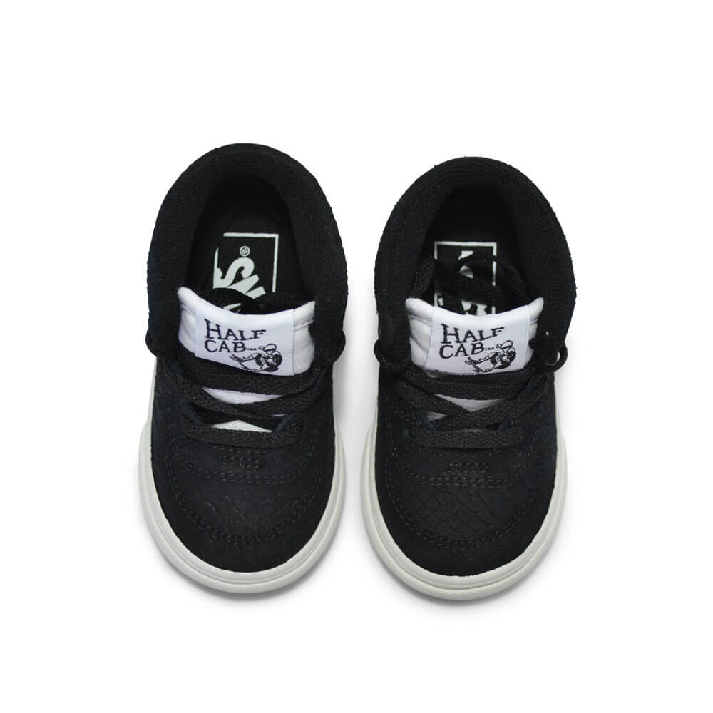 vans kids half cab snake sneaker black top pair