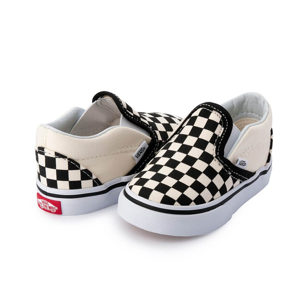Vans Toddler Classic Slip On – Black/White Checkerboard side angle pair