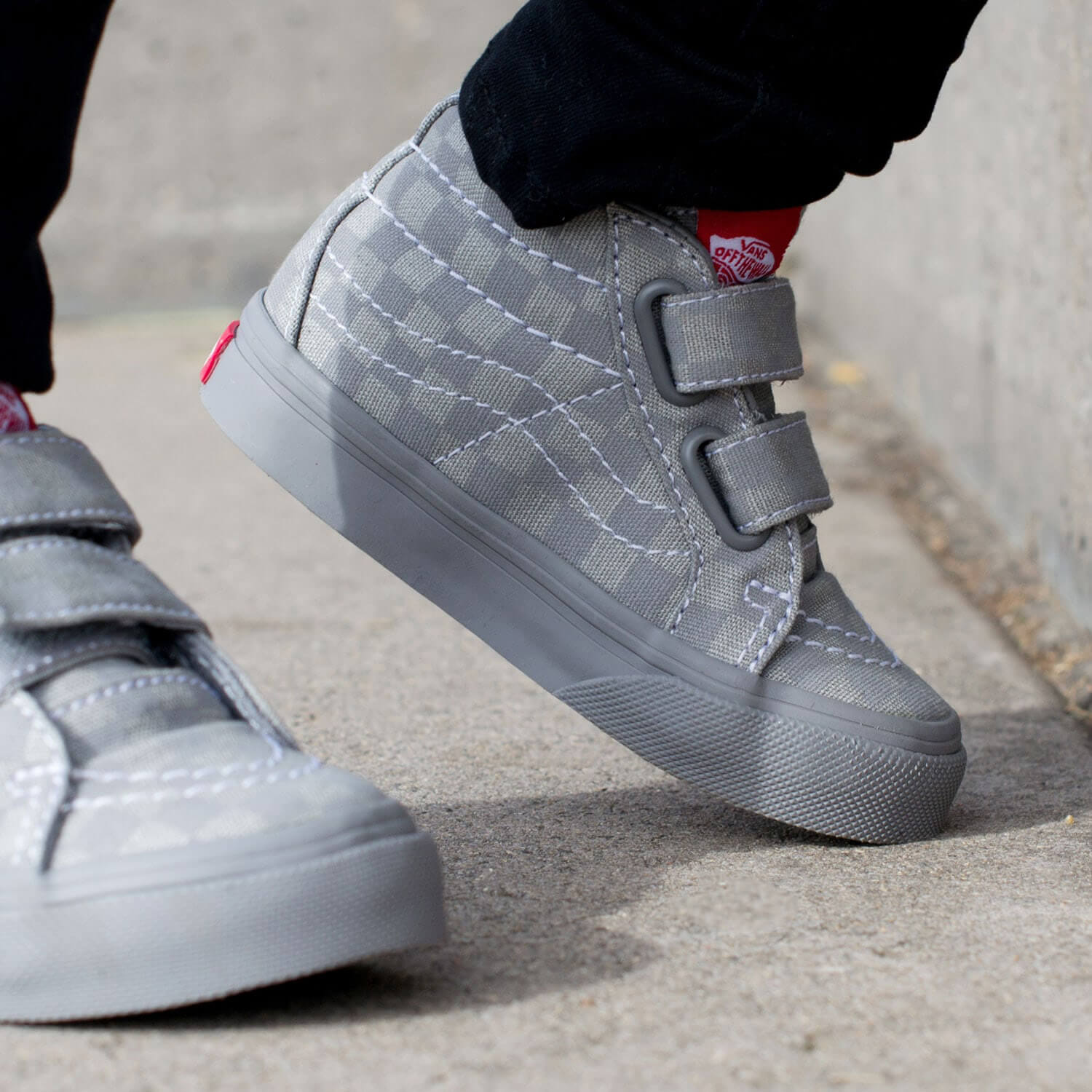Vans Toddler SK8 Mid Rise Sneaker - Grey Checkerboard Side