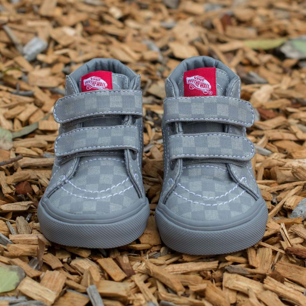 Vans Toddler SK8 Mid Rise Sneaker - Grey Checkerboard Front