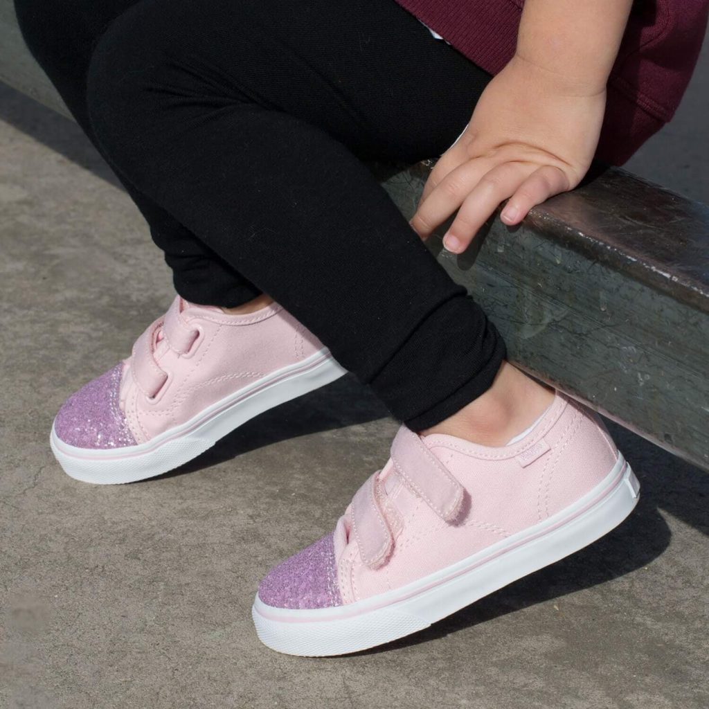 db6f74bfb8 Vans Toddler Style 23 Sneaker – Chalk Pink Glitter Toe - Camino Kids