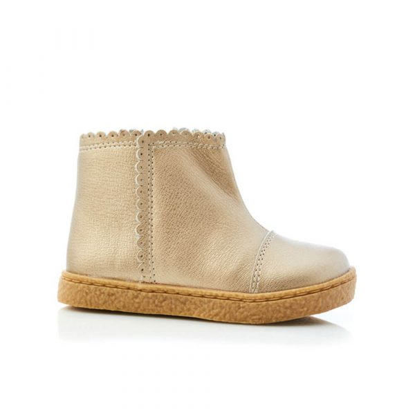 Binky Scallop Boot - Gold Leather side