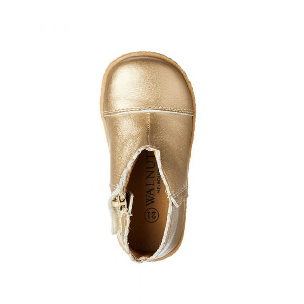 Binky Scallop Boot - Gold Leather top