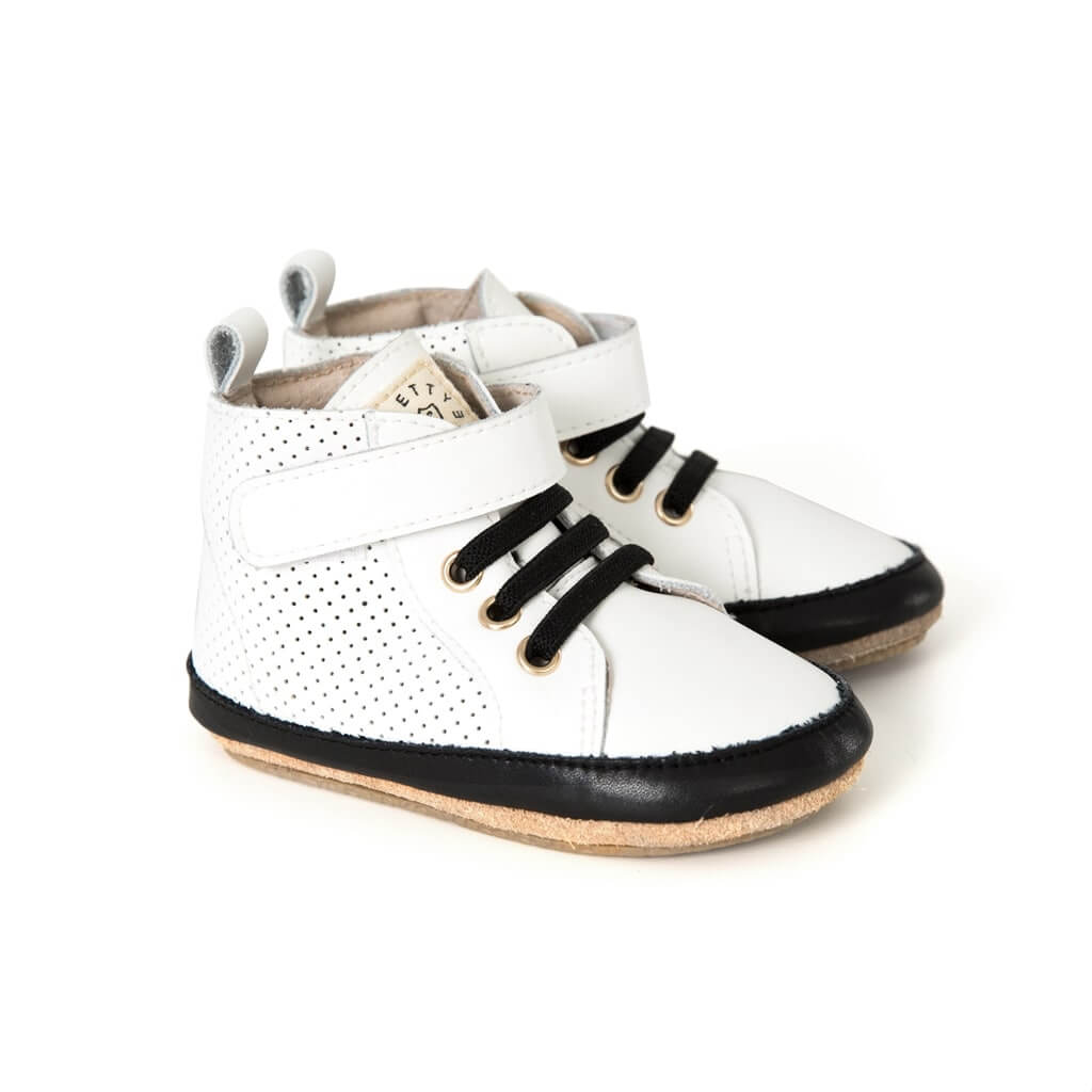 Pretty Brave Baby Shoes Hi Top Boot White Angle